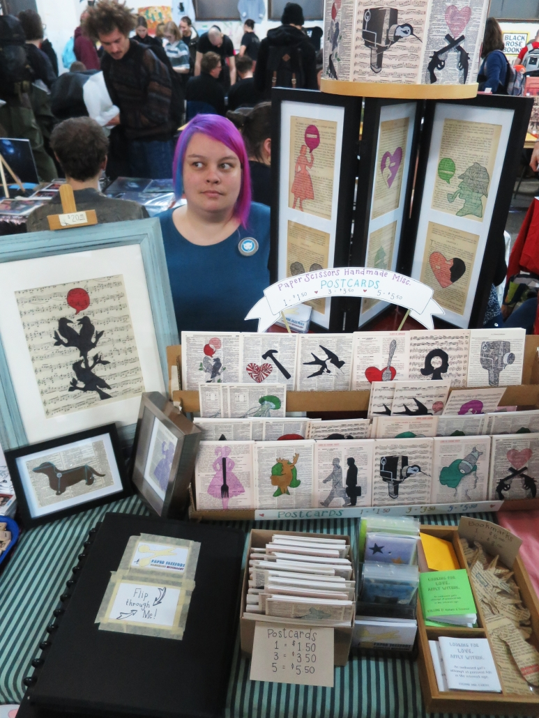 PaperScissors' table at the 2018 Expozine in Montreal, Qc.
